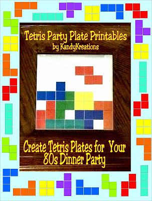 Throw a fun dinner party for your family and friends with this Tetris Glass Plate printable insert.  It's a quick and easy dinner plate DIY for your Video Game party or 80s party.