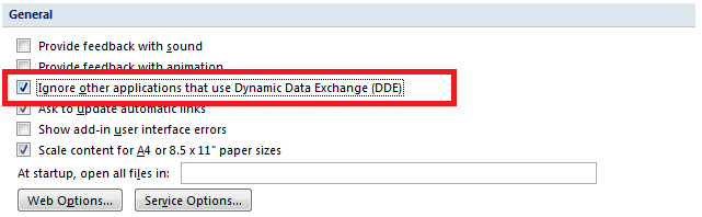 excel 2007 ignore other applications that use dynamic data exchange