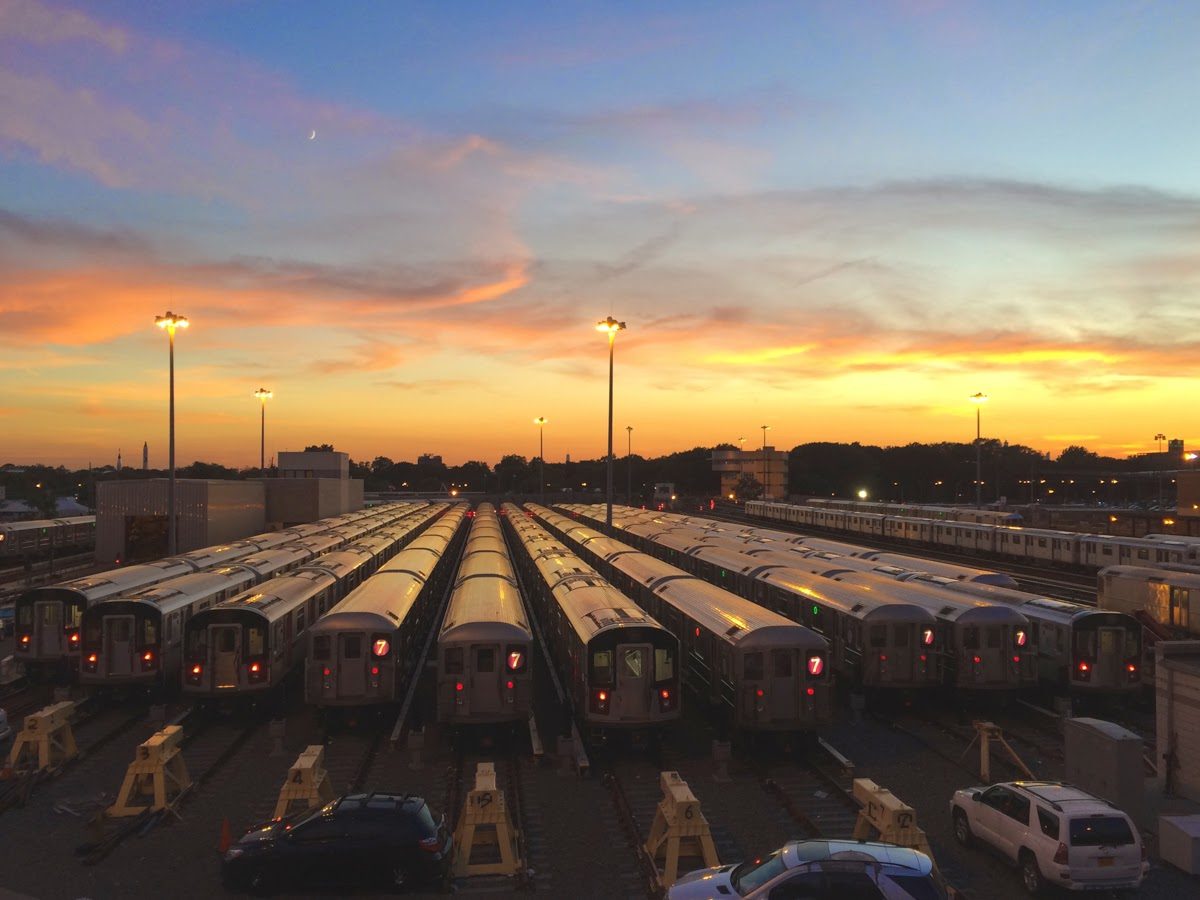 flushing meadows subway cars yard sunset