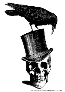 Calavera con cuervo y sombrero
