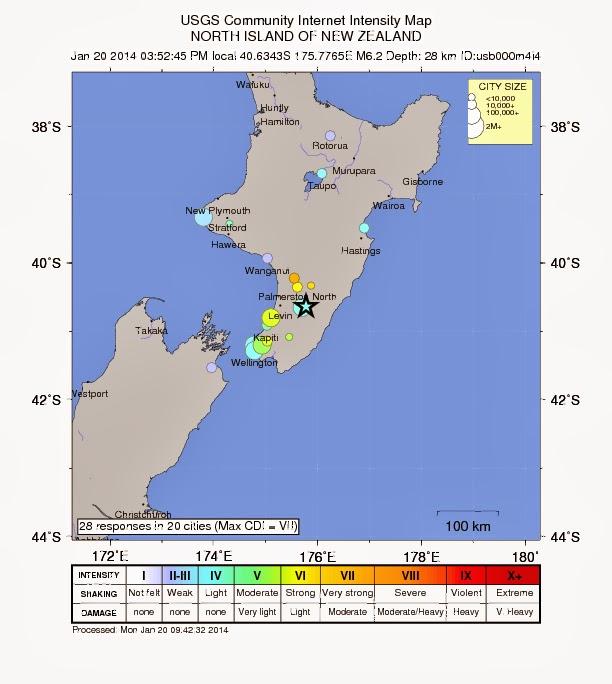 Epicentro terremoto 6,3 grados Nueva Zelanda, 20 de Enero 2014