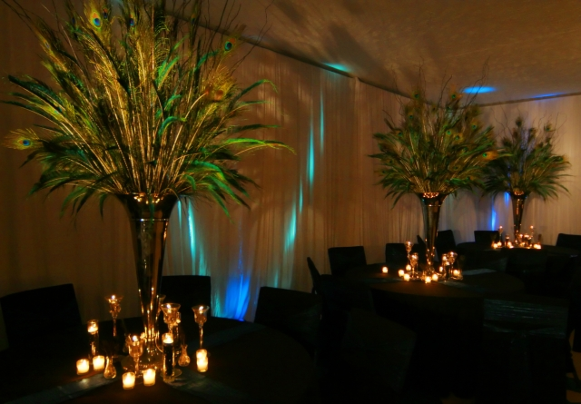 flower and feather wedding centerpieces