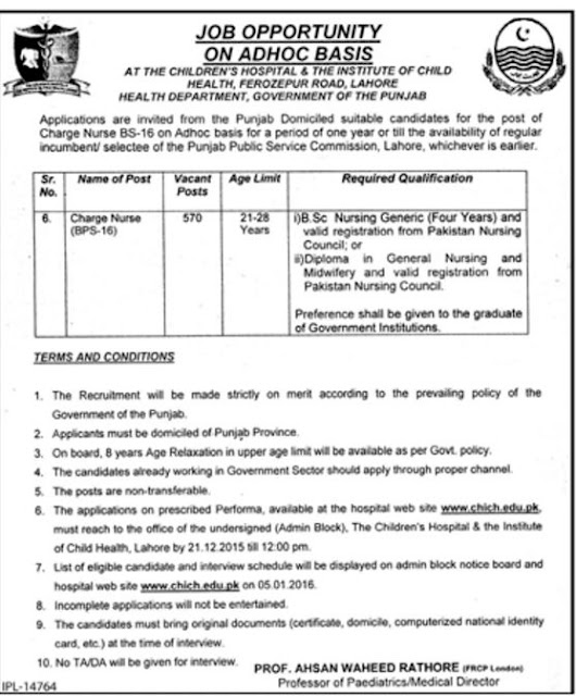 Charge Nurse Jobs in Children's Hospital Lahore