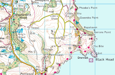 Map of Cornwall showing Trenarren and coastal path