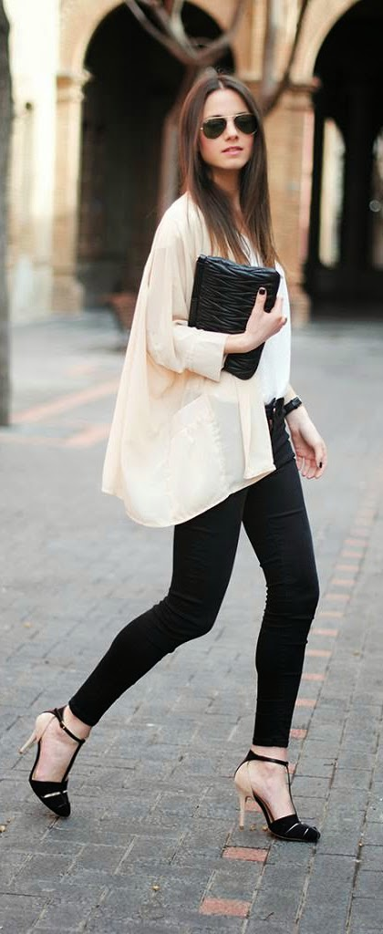 Zara Classic Top with Skinny Jeans and Black Heels | Spring Outfits