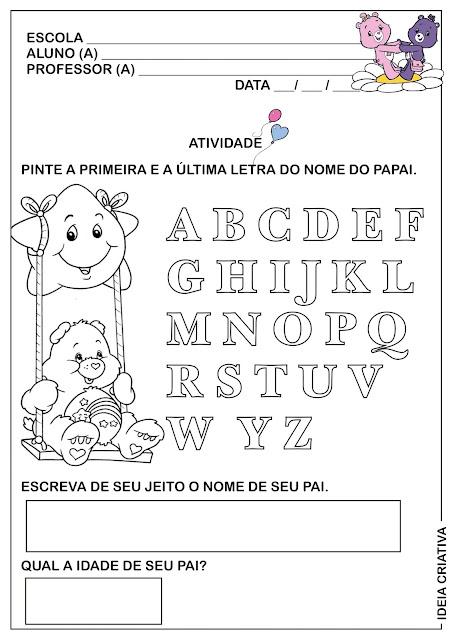 Atividade Dia dos Pais  Leitura e Escrita