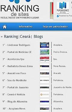 Obrigado pelo 5º Lugar no Ranking dos blogs mais acessados do Ce