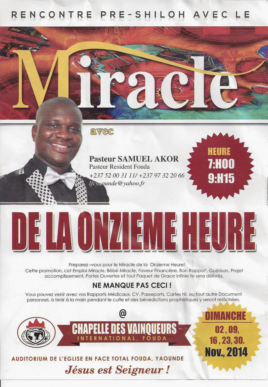 Winners Chapel International Yaoundé Fouda; Chapelle Des Vainqueurs International Yaoundé Fouda ...