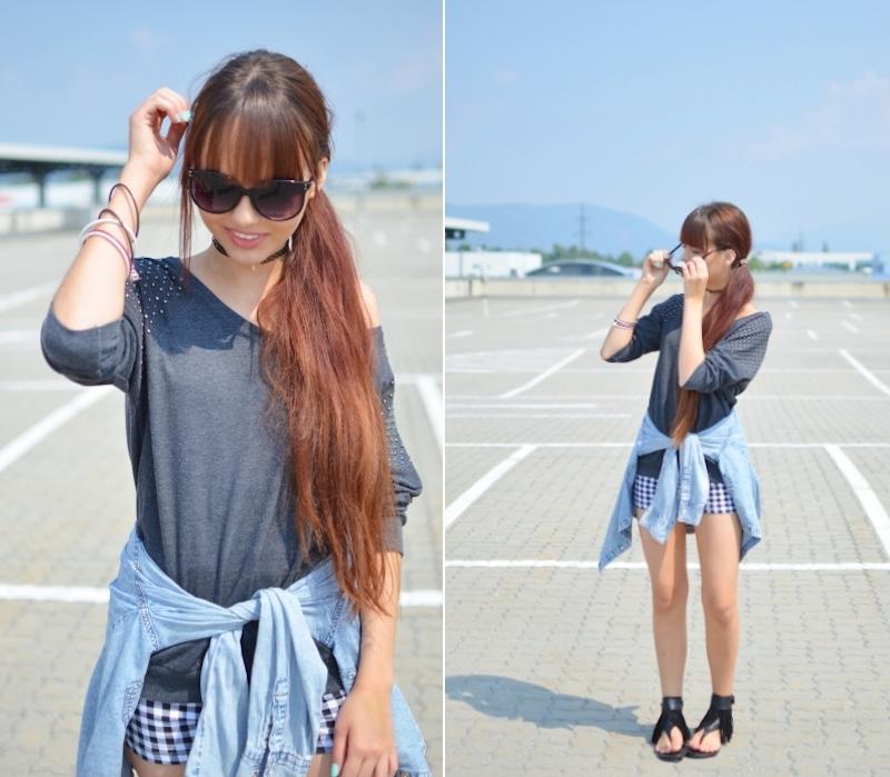 Streetstyle_Outfit_Jeanshemd_umgebunden_Shorts_Pullover_ Sandalen_österreichischer_grazer_Fashionblog_viktoriasarina