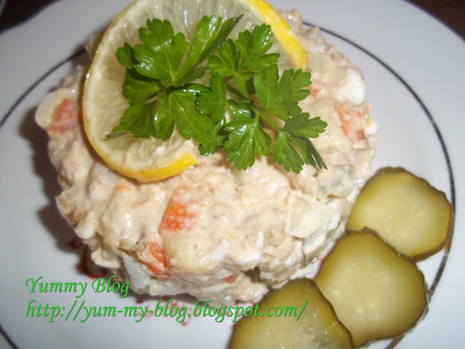 Салат без майонеза с тунцом рецепт