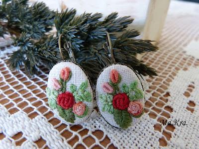 kolczyki z haftem, haftowane kolczyki, embroidery