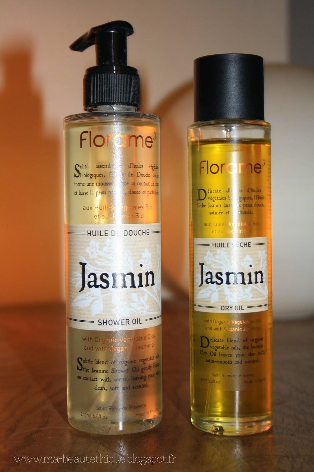 huile de douche et huile pour le corps au jasmin de Florame
