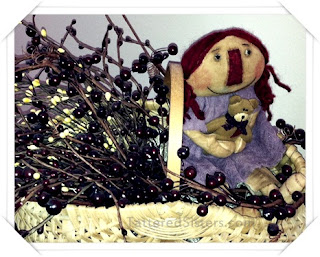Primitive Doll n Berries Basket