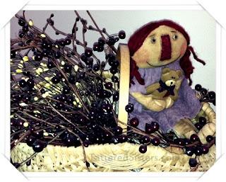 Primitive Doll n Berries Basket