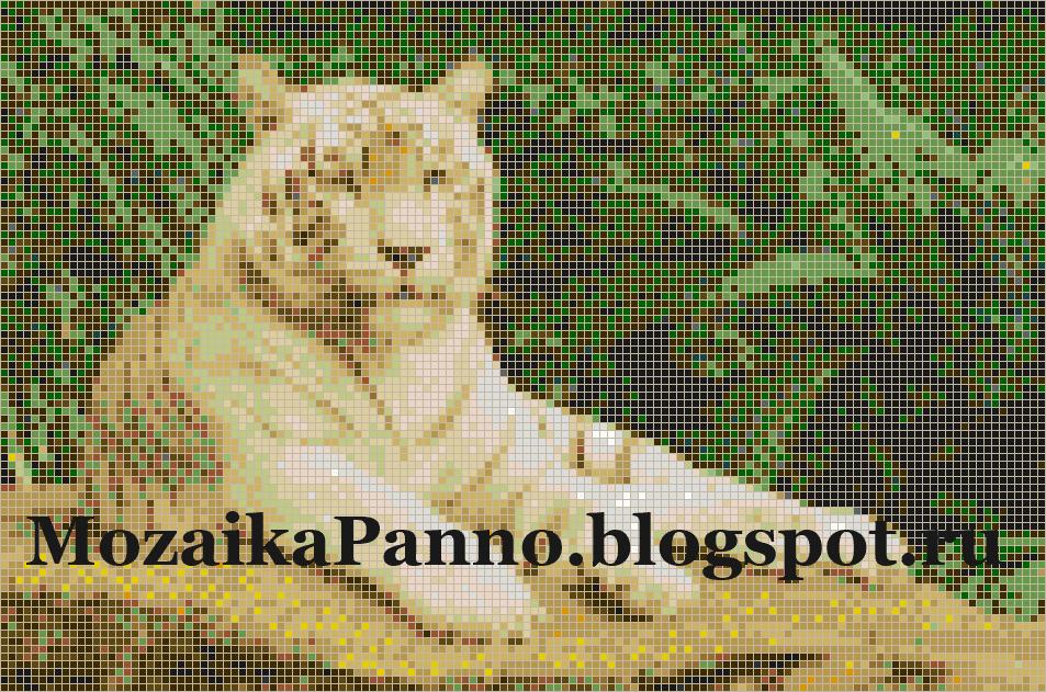 Мозаичное панно «Белый тигр отдыхает»