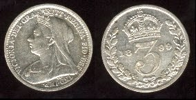 British silver threepence piece