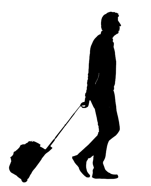 silhouette of a tall man with trolley bag