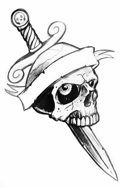 Skull with sword tattoo stencil