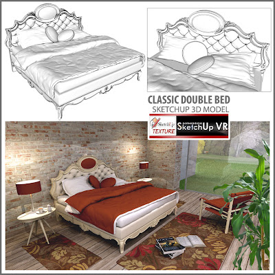 free sketchup model classic_double bed #5