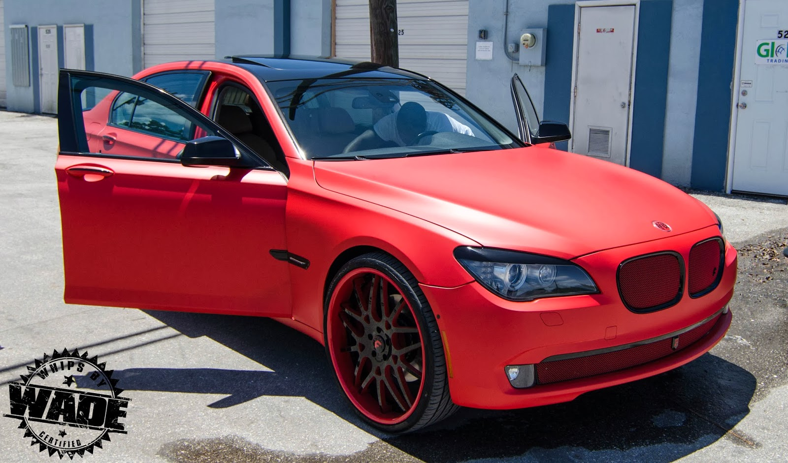 Whips By Wade TaTe Design Matte Red Wrapped BMW 750li On 24 Forgiato Wheels