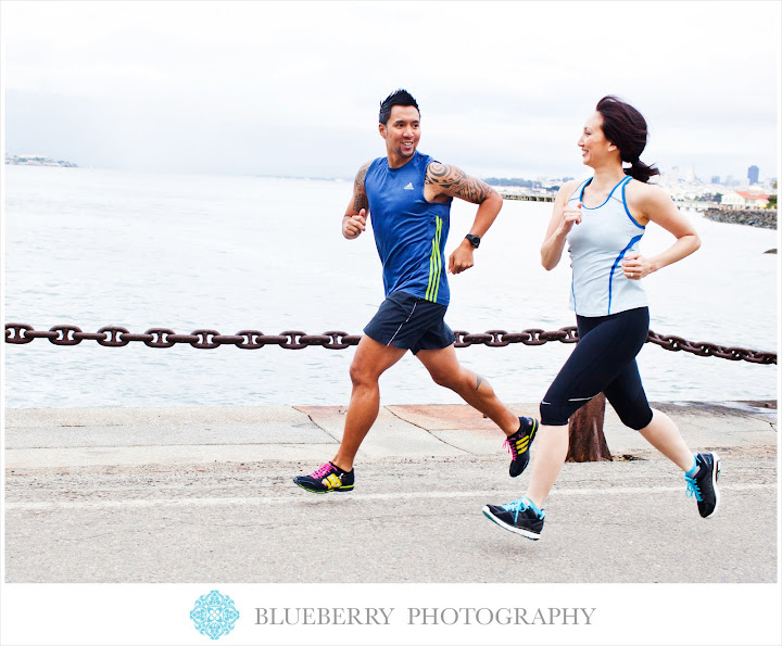 bay area urban running couple engagement photography session