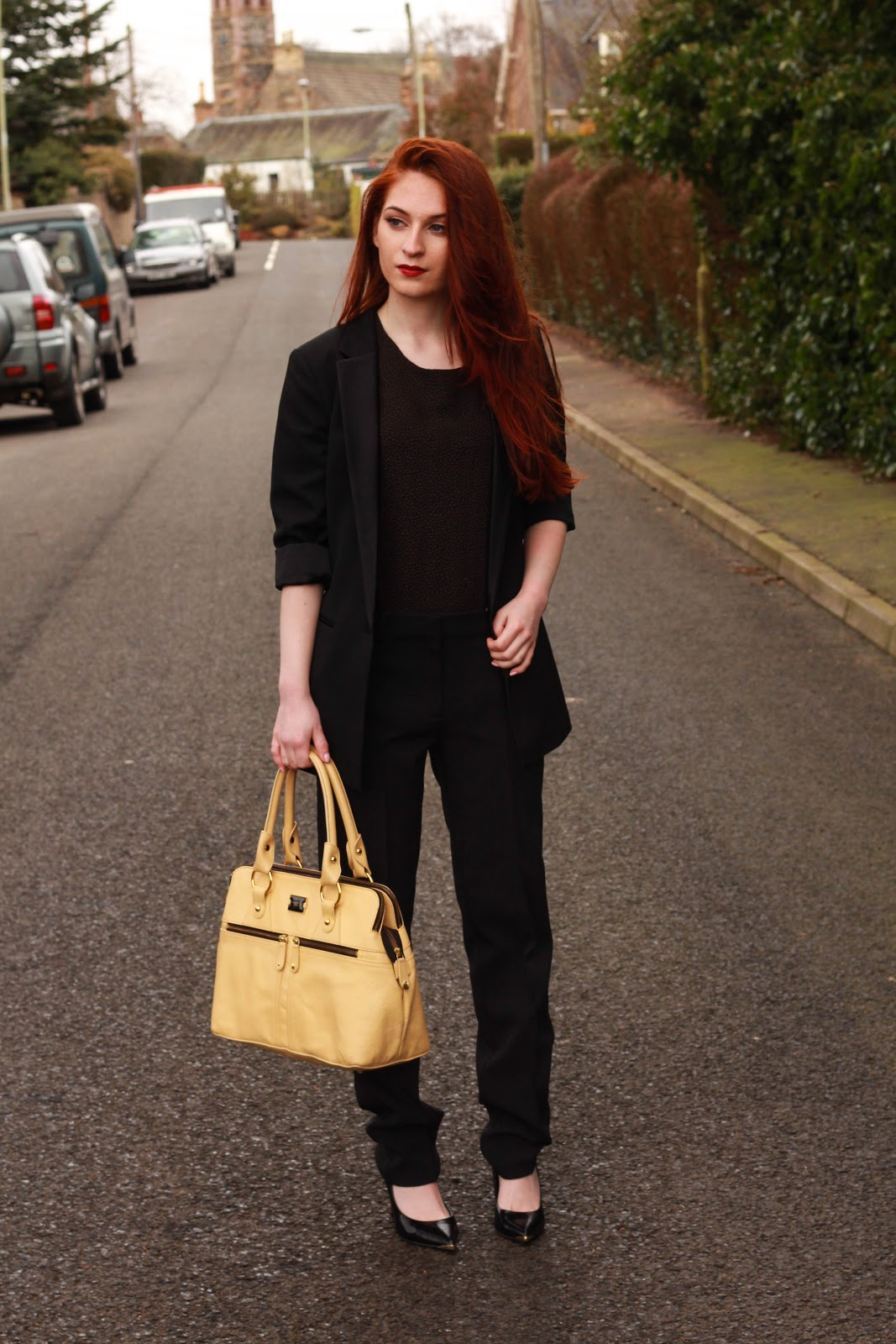 fashion blog, tailored blazer, hybrid london trousers, nars lipstick,