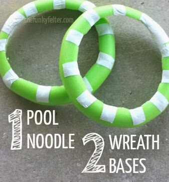 diy pool noodle wreath base craft tutorial