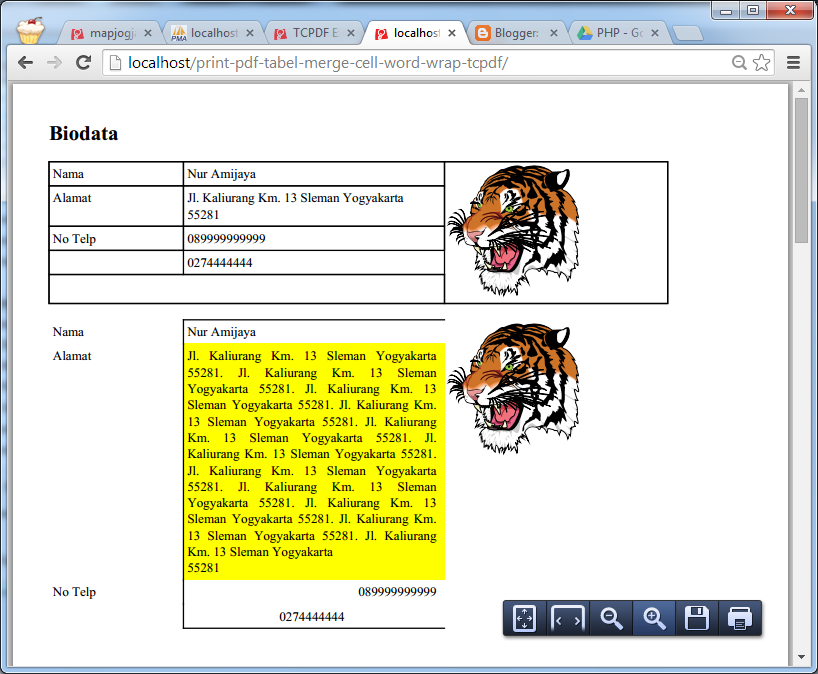 Mencetak Report Web PDF Format Tabel, Word Wrap, Merge Cell, Background Warna, Border dan Justify dengan PHP TCPDF