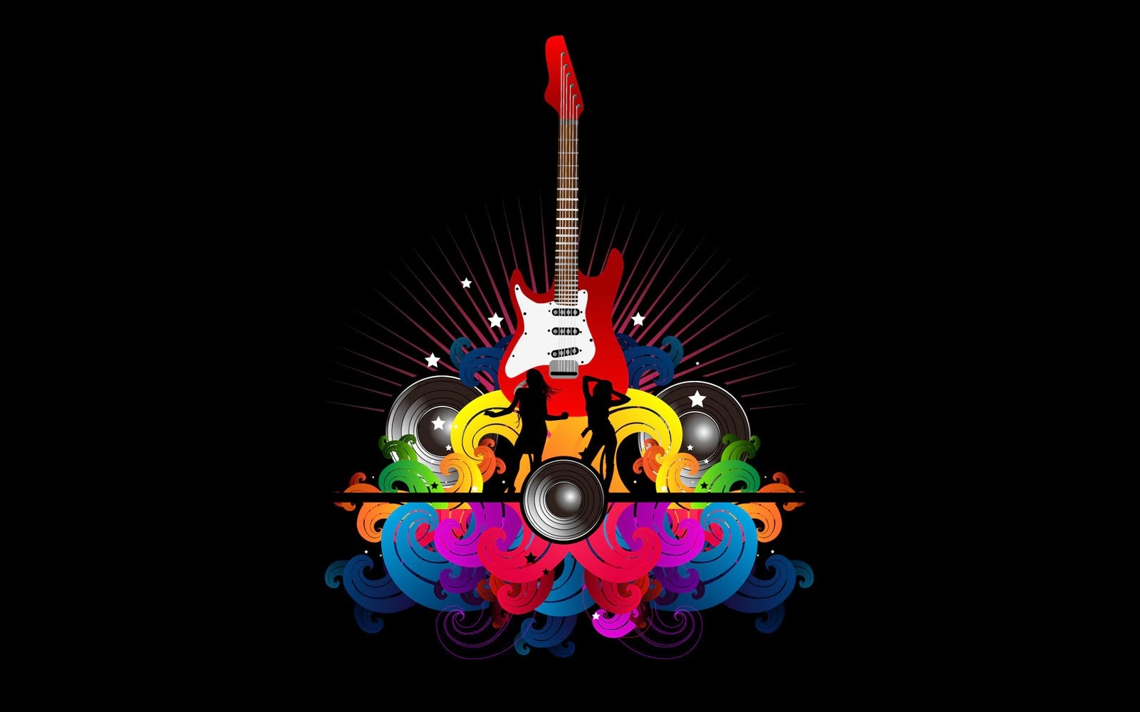 Black Music Wallpaper With A Red Electric Guitar And Two People Dancing