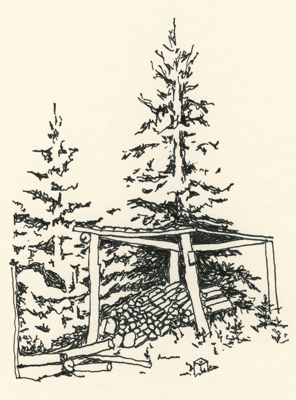 ink drawing of wood pile