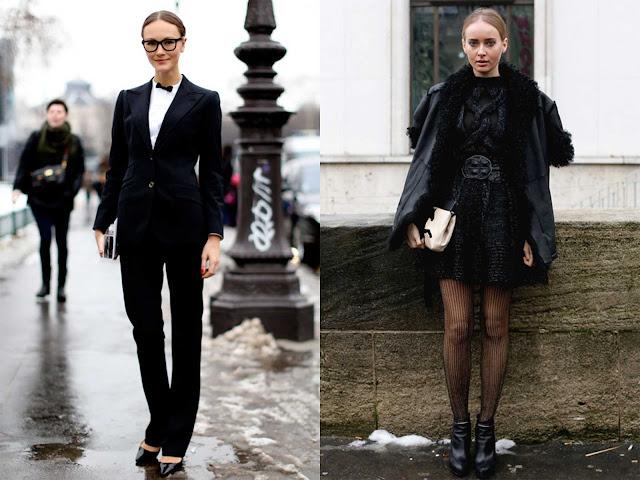 Street Style Semana con outfit en color negro.