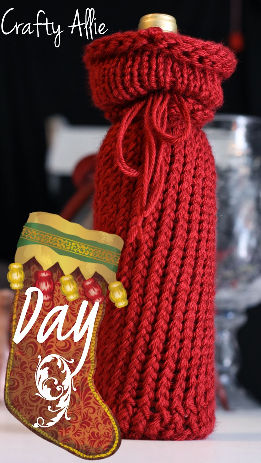 12 Days of Christmas, Day 9: Knitted Wine Bottle Cover
