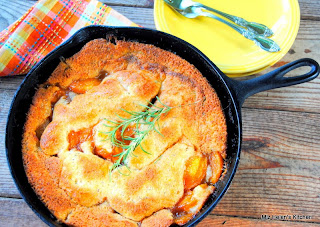 Rosemary Crusted Peach Cobbler from Miz Helen's Country Cottage
