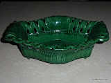 Footed Serving Piece Wedgwood Barlaston Majolica Green
