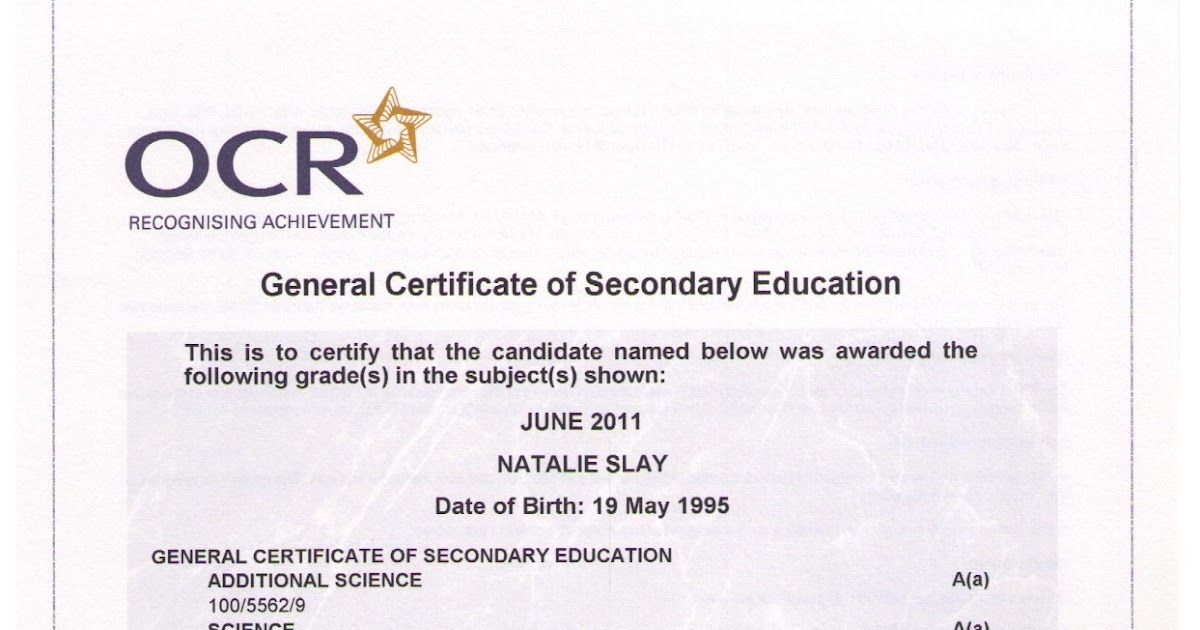my curriculum vitae  gcse certificate science  additional