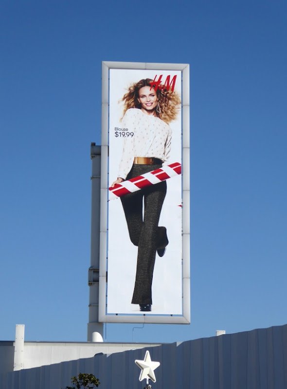 H&M Holidays 2015 candy cane billboard