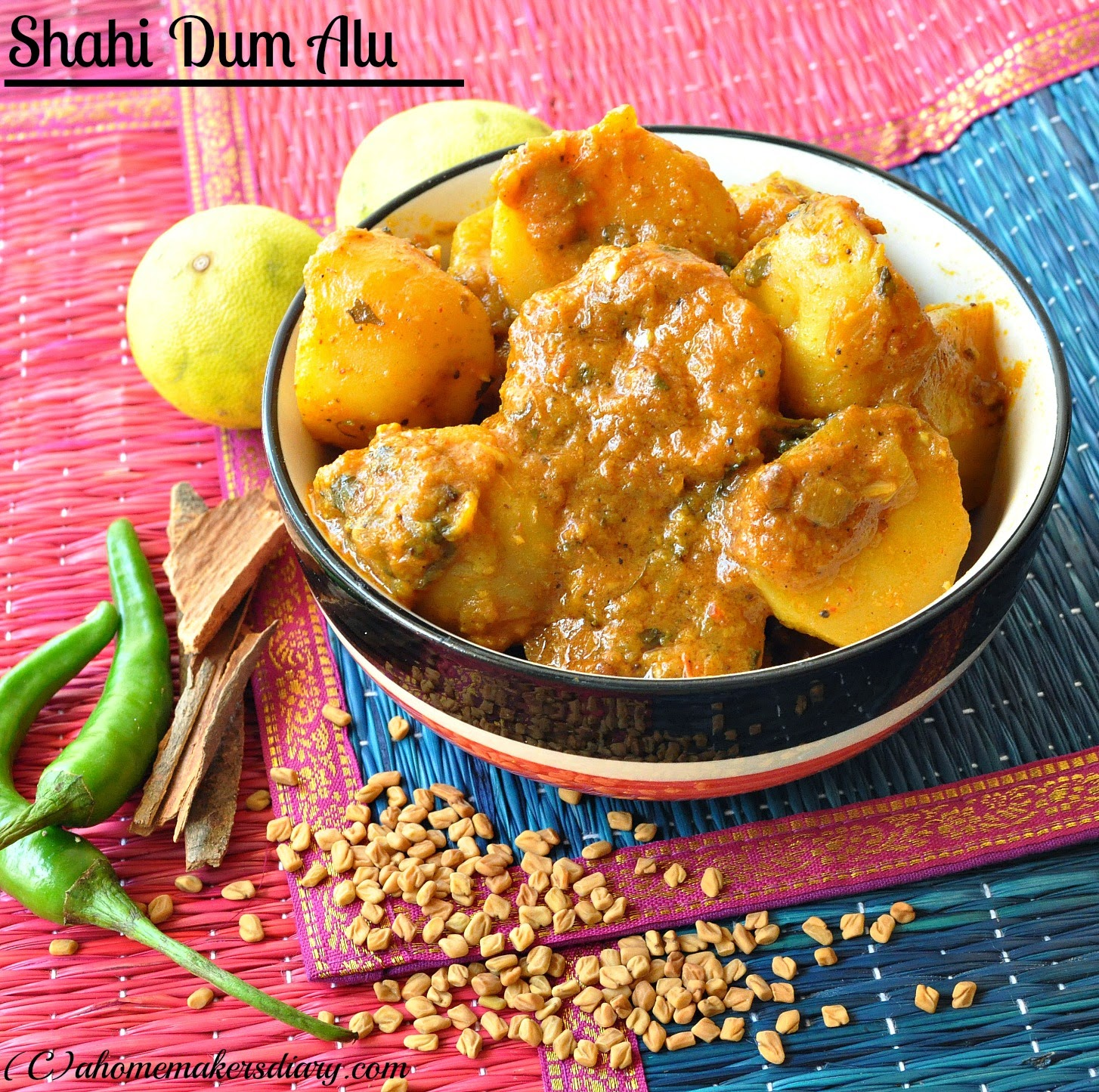 Shahi Dum Alu (New potatoes simmered in spicy gravy)
