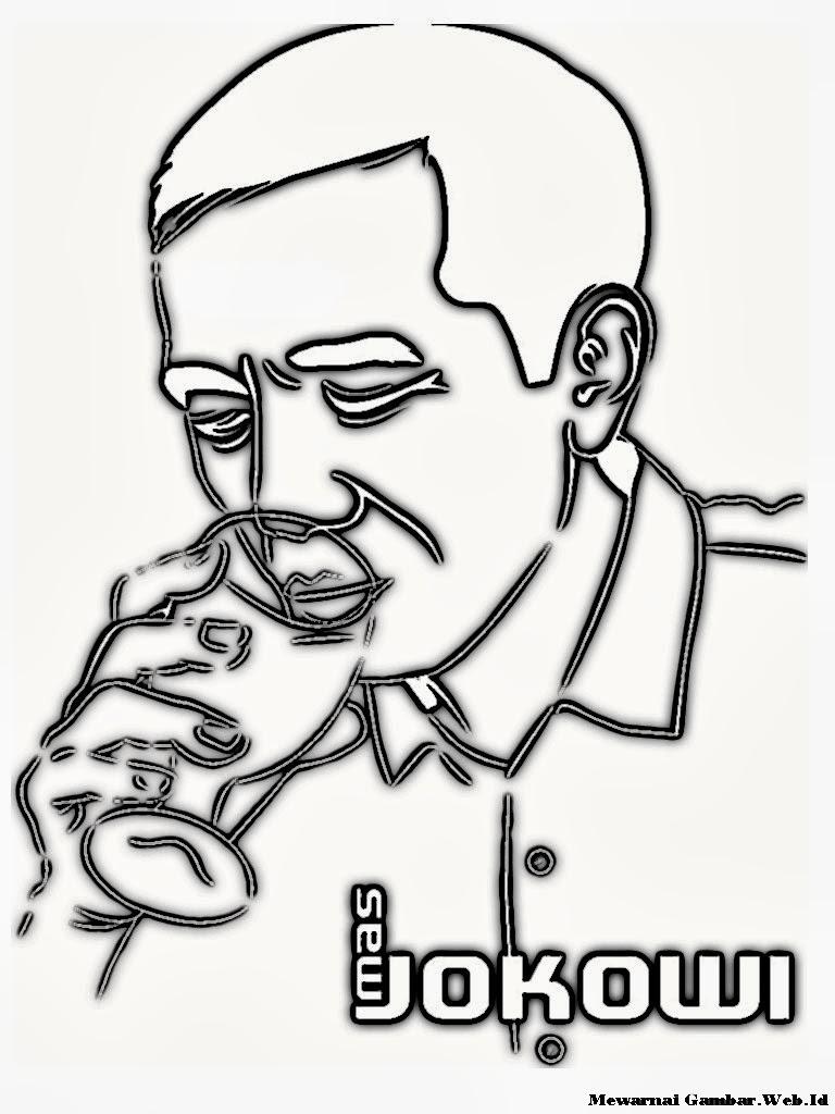 Gambar Karikatur Pak Jokowi Sedang Minum Untuk Diwarnai