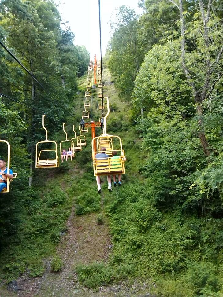Crockett Mountain Chair Lift in Gatlinburg, Tennessee.