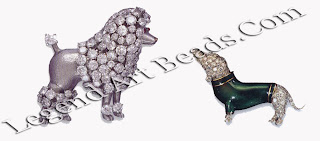 Some of Verdura's endearing animal jewels: a poodle in platinum and diamonds; and a dachshund in diamonds and enamel.