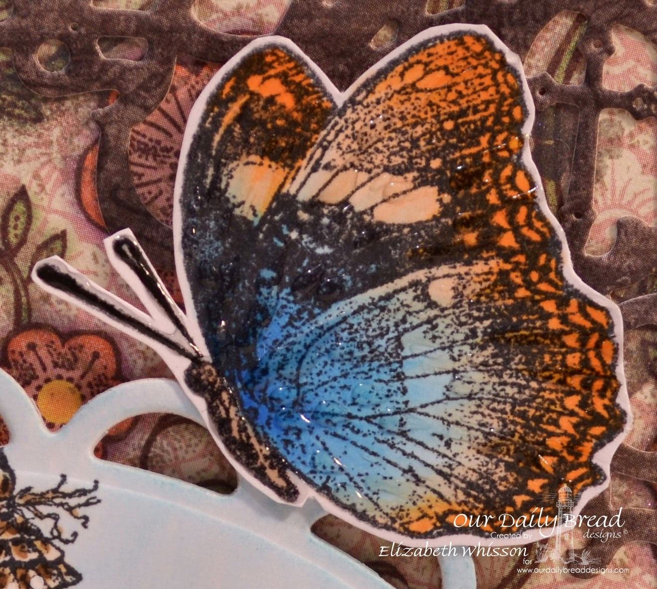 Elizabeth Whisson, Our Daily Bread Designs, ODBD, Missing You, butterfly, reverse stamping, mirror stamping, copic markers, copics