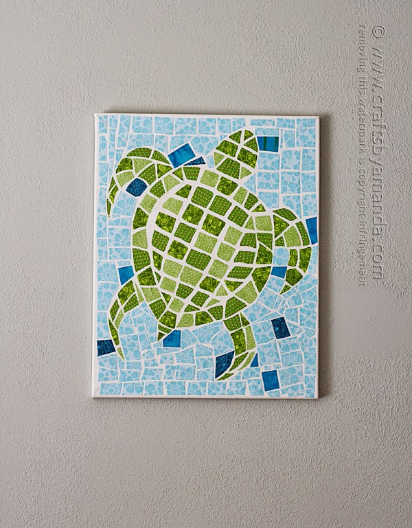 http://craftsbyamanda.com/2014/05/mosaic-turtle-using-fabric-canvas.html