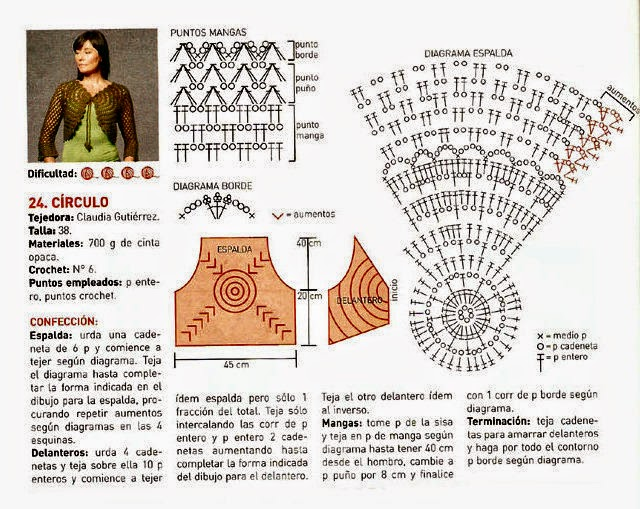 Bolero de diseño circular tejido con ganchillo con patrones en Español