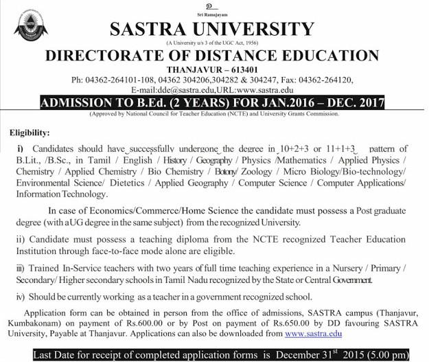 Sastra University B.Ed notification 2016