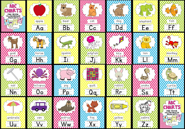 Adventures With Firsties Abc Charts  Pink Blue Green And