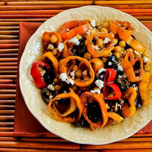 ... Recipe for Marinated Pepper Salad with Garbanzos, Olives, and Feta