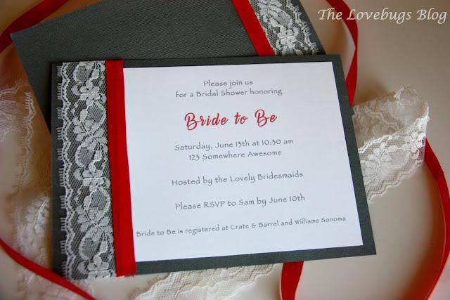 DIY Lace and Ribbon Bridal Shower Invitations