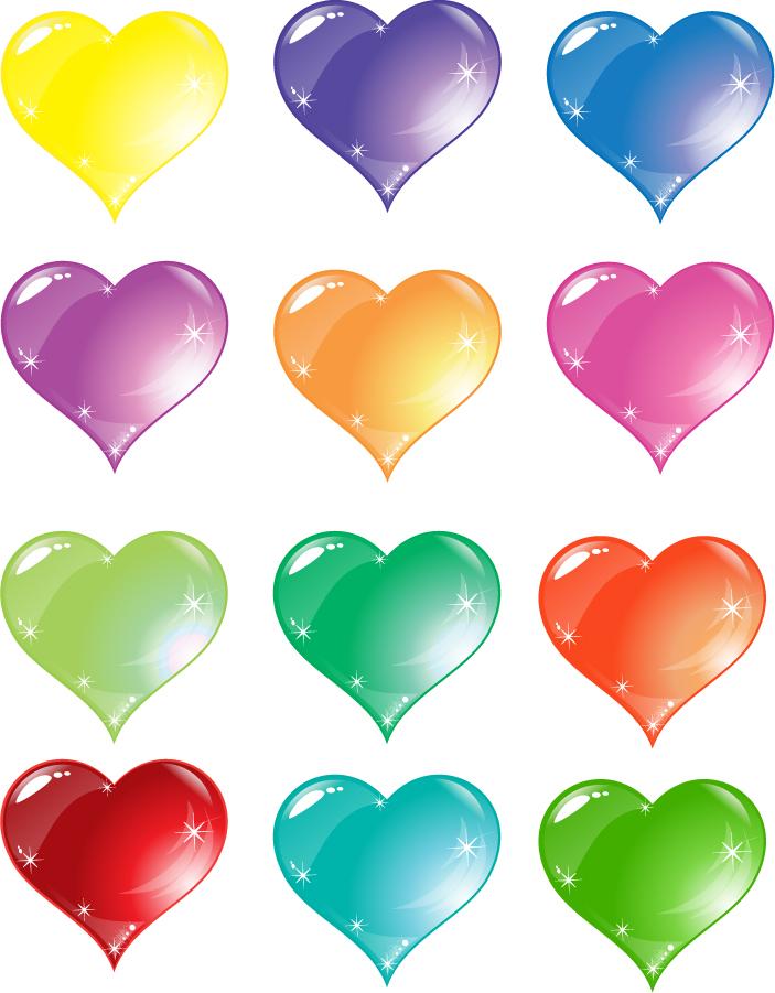 カラフルなハートのクリップアート Colorful Heart Love Vector イラスト素材