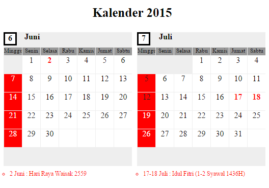 Kalender Juni - Juli 2015