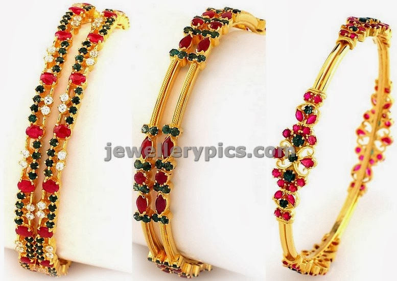 ruby emerald light weight bangles